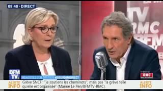 Marine Le Pen Invité de Bourdin Direct Mercredi 18 Avril 2018