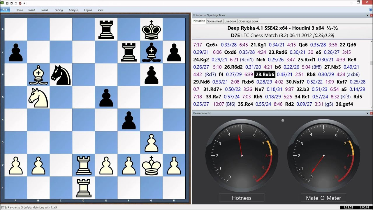 Deep Rybka 4 1 x64 Vs  Houdini 3 x64, LTC Chess Match Game 10