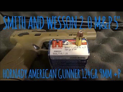 "Smith And Wesson 2.0 5"" 124gr Hornady American Gunner 9mm +P XTP Review"