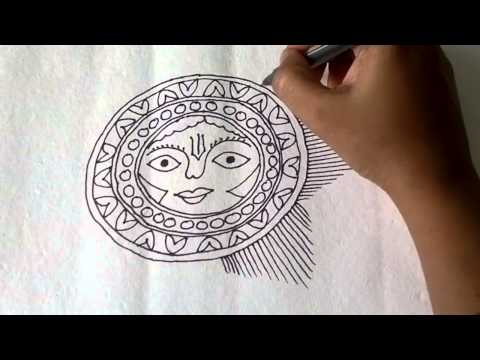 Lesson 11 : (हिन्दी) Draw a sun sketch in Madhubani painting – Part 1