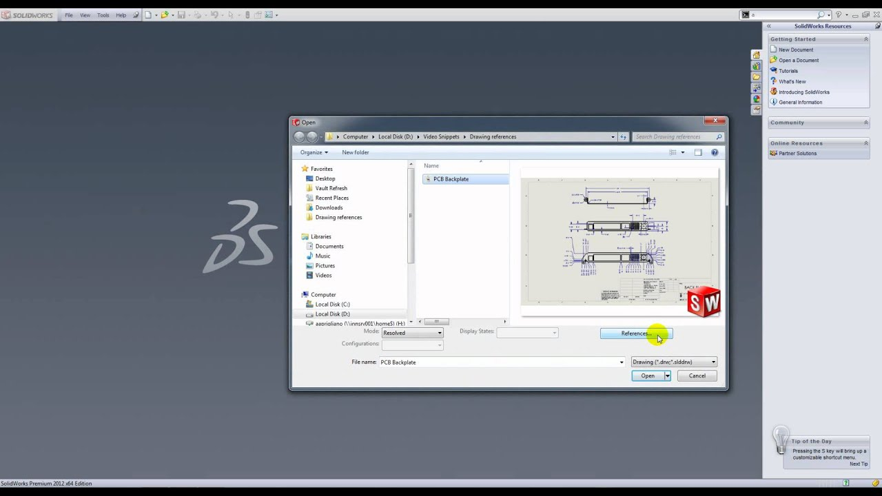 Changing a drawing reference in SolidWorks