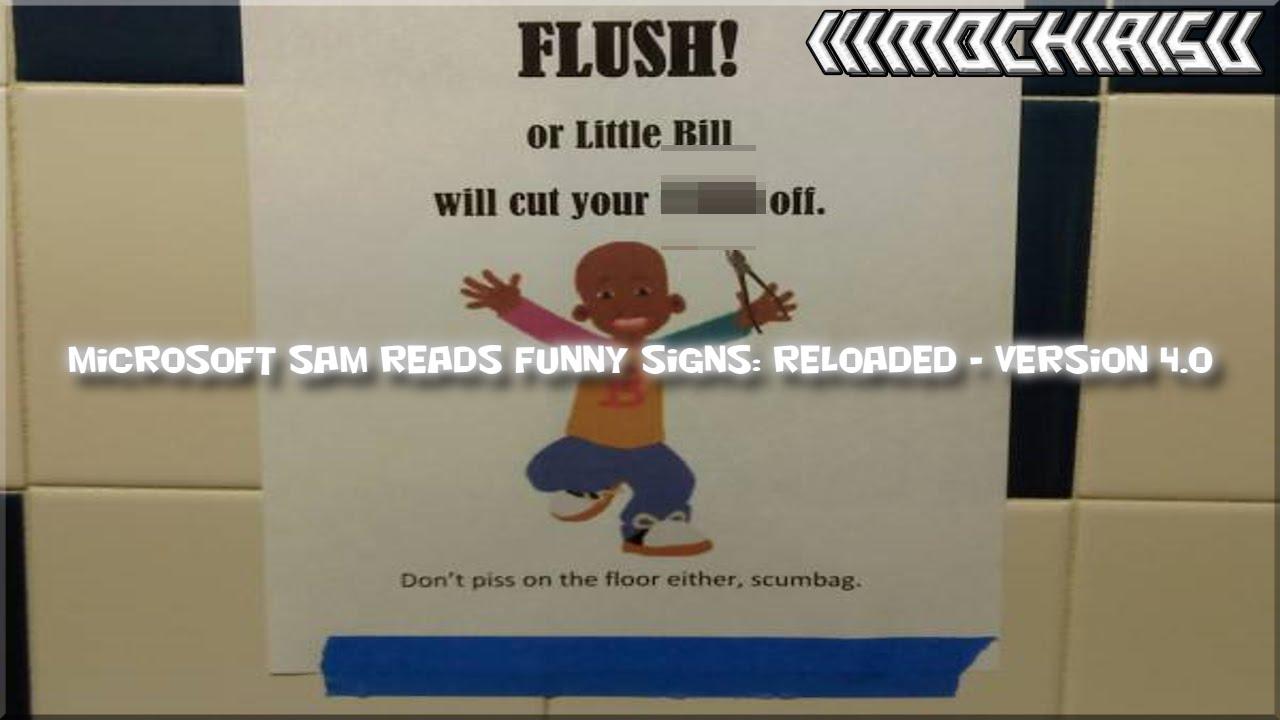 microsoft sam reads funny signs