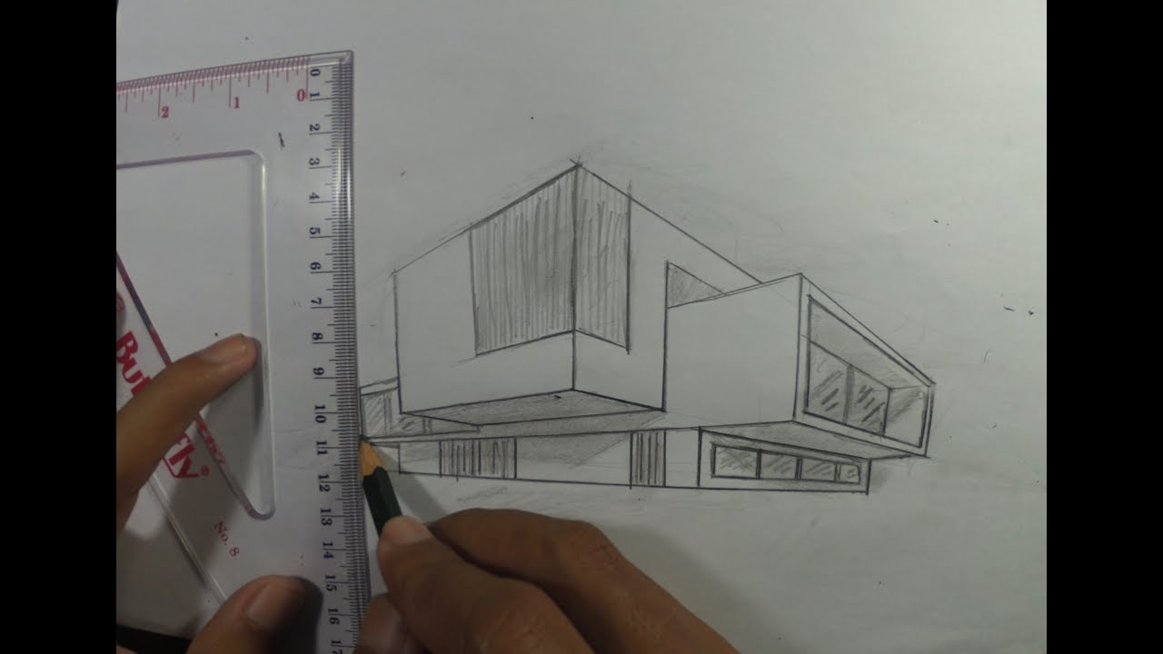 Architectural How To Draw A Simple Modern House In 2 Point