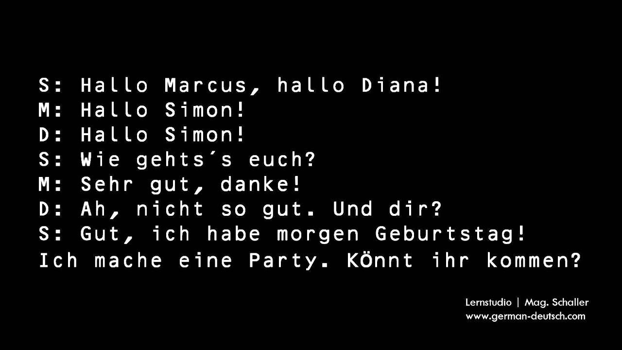 30 Einladung zur Party - Deutsch lernen mit Dialogen. Learn German ...