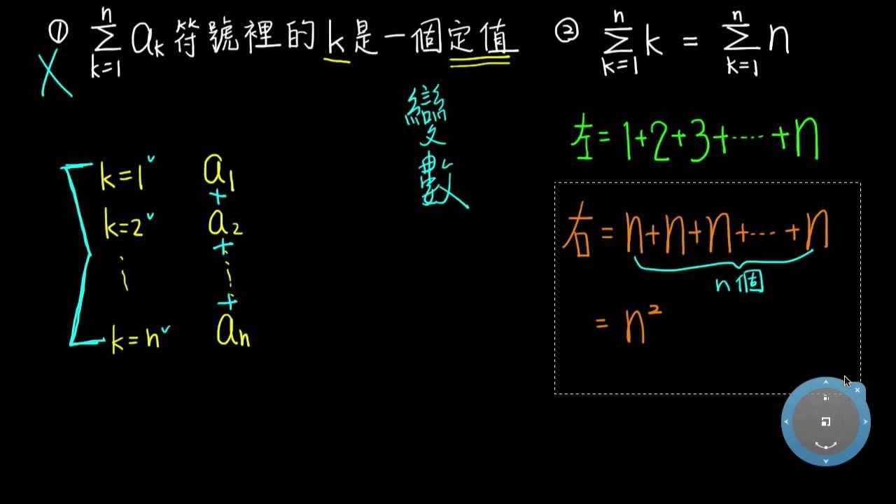 高一下數學1-2B是非題02「Σ」符號裡的變數 - YouTube