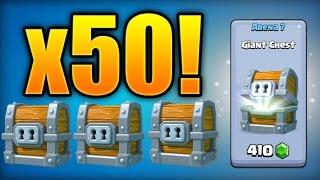 "Clash Royale - ""OPENING 50 GIANT CHESTS!"" Unlocking Legendary Card! $150 Giant Chest Opening INSANE"