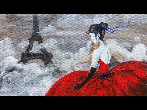 Red Dress Eiffel Tower beginner Acrylic Painting class ANGEL