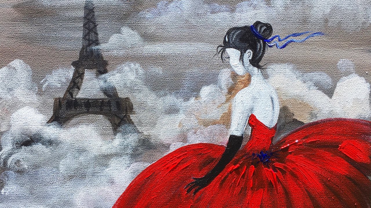 Red Dress Eiffel Tower Beginner Acrylic Painting Cl Angelooney You