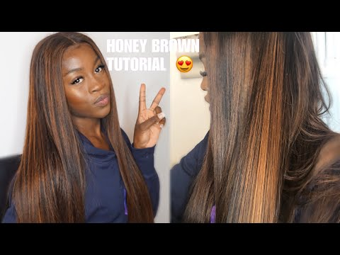 The PERFECT Honey Brown Highlights TUTORIAL- Foxy Wigs - HOW I ACHIEVED THIS COLOUR !