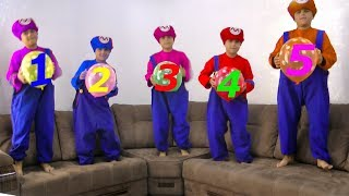 Five little monkeys Jumping on the bad Song Educational Good Song for Kids- Five little mario