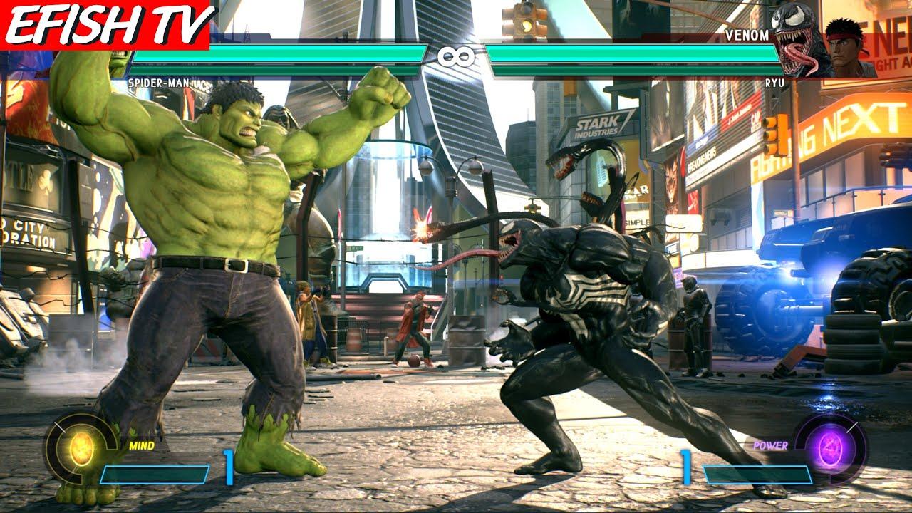 Hulk \u0026 Spider-Man vs Venom \u0026 Ryu (Hardest AI) - Marvel vs Capcom: Infinite