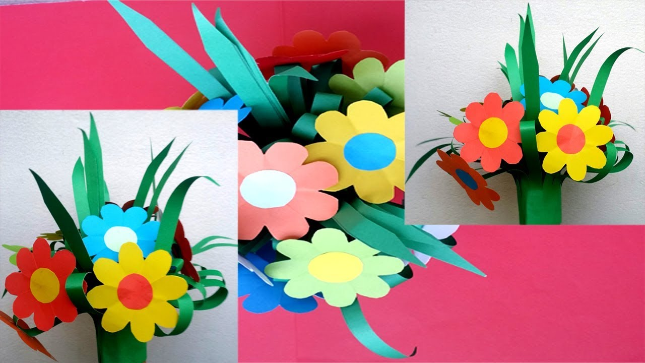 diy how to make a beautiful paper flower bouquet for room decoration