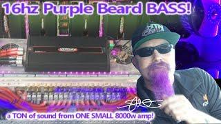 One SMALL 8000 watt amp, a TON of sound! 4 15's 6th Order Bandpass Wall 16hz Purple Beard BASS!