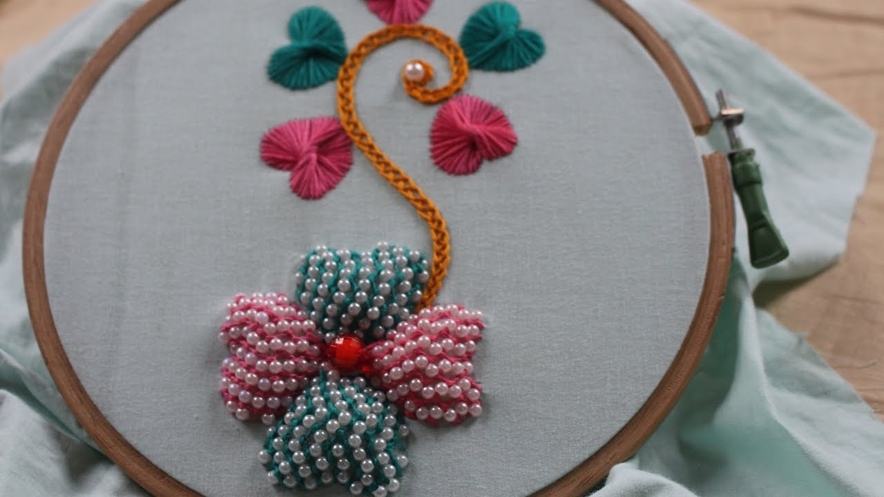 Hand embroidery designs beads padded butterfly stitch