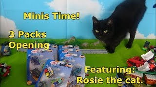 Thomas & Friends Minis 3 Packs, Opening and Review. (Featuring Rosie the Cat).