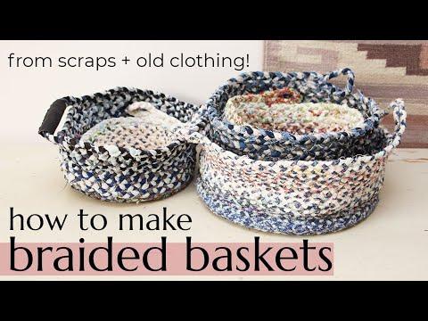 DIY BRAIDED BASKET & BOWL // Make a storage basket or bowl from fabric scraps & old clothing!