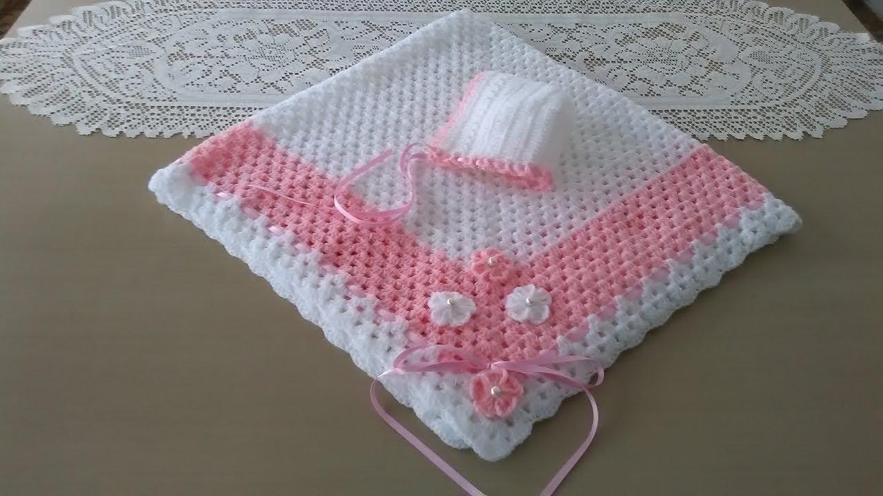 Manta para beb blanca y rosa youtube - Hacer una manta de ganchillo ...