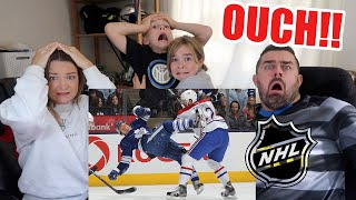 Family of Rugby Fans Reacts to NHL Hockey's Biggest Hits!!