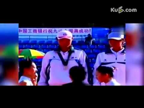 第9届全运会网球混双颁奖 李娜疑似被扇耳光