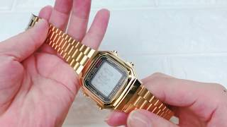 CASIO卡西歐手錶方形金色電子EC6 選購去→http://bit.ly/2Iv0dXG.