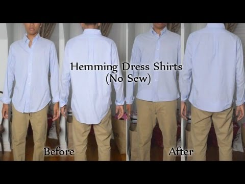 How To Hem Dress Shirt Without Sewing YouTube Magnificent How To Tailor A Shirt Without A Sewing Machine