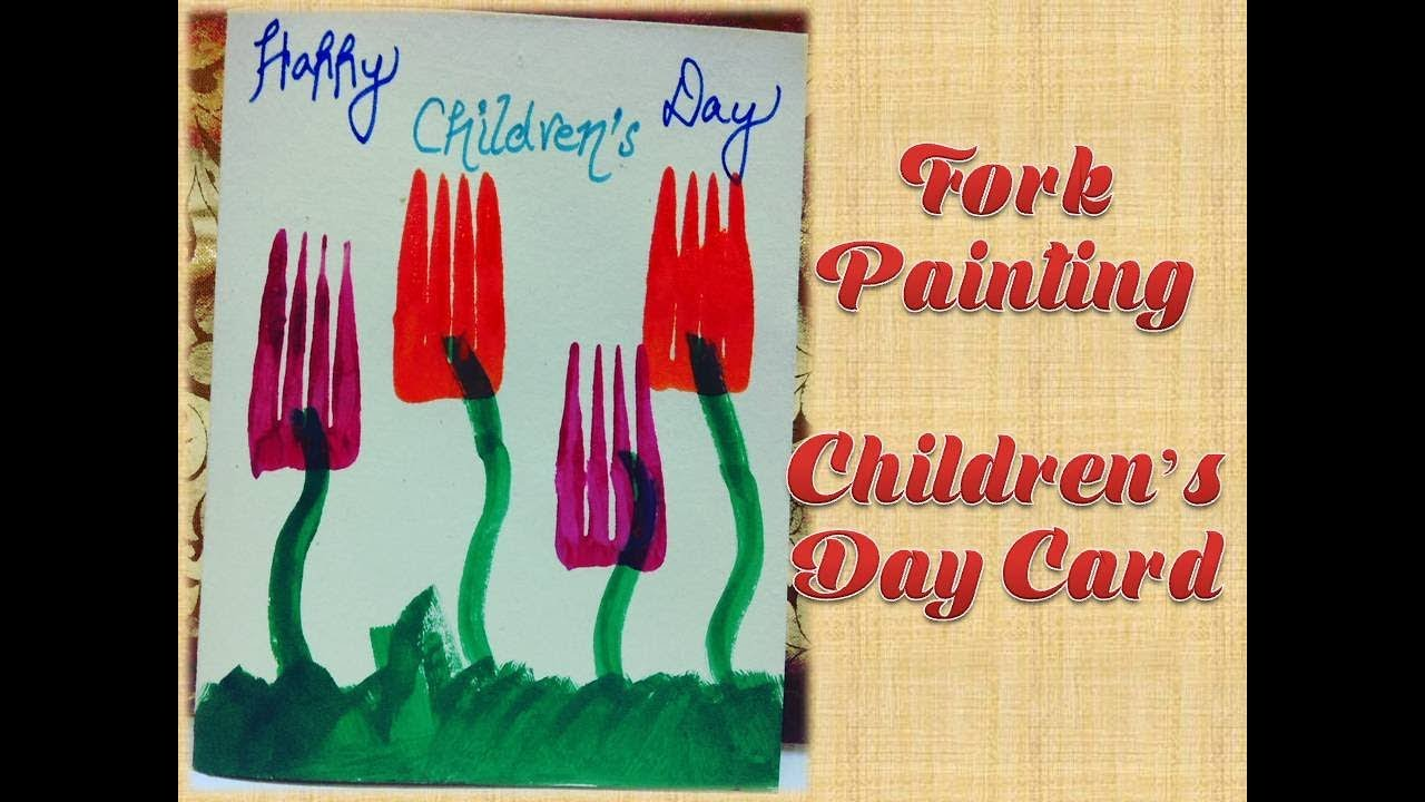 2017 Happy Childrens Day Card Fork Painting Kids Crafts 3