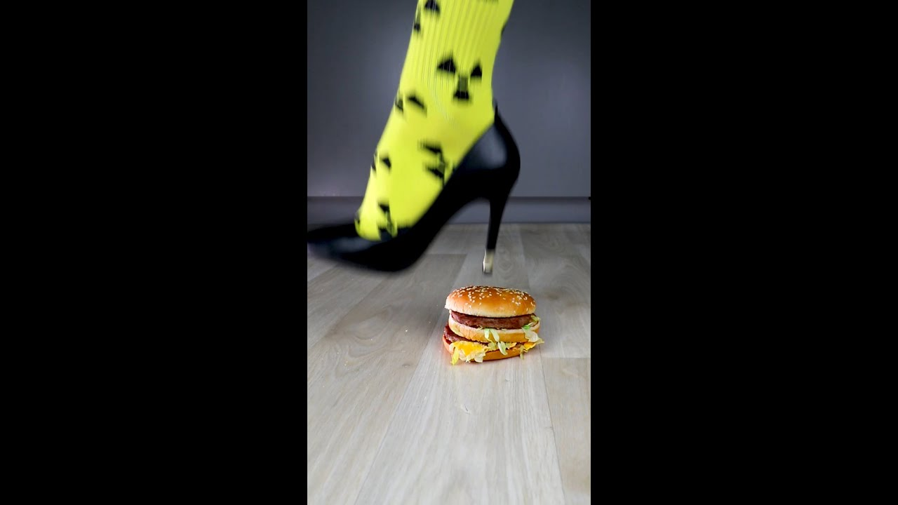 Experiment High Heels vs Food & Burger | Crushing Crunchy & Soft Things by Shoes! #Shorts