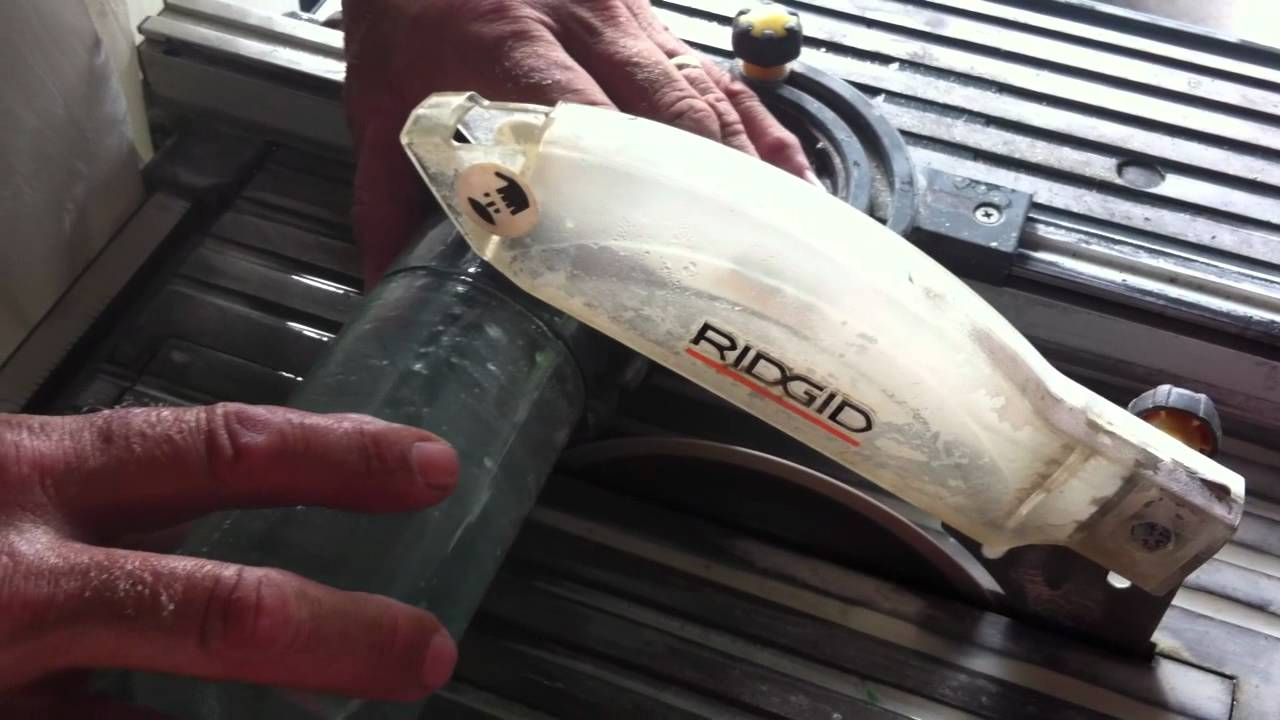 Cutting A Wine Bottle To Make A Wine Glass With A Tile Saw