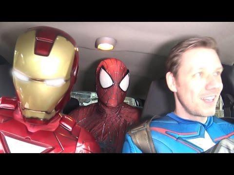 Superheroes Dancing in a Car - SPIDER-MAN & IRON MAN & CAPTAIN AMERICA - TheSeanWardShow