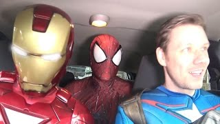 Superheroes Dancing in a Car - SPIDER-MAN & IRON MAN & CAPTAIN AMERICA - TheSeanWardShow