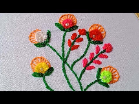 Hand Embroidery #209:Modern embroidery flowers. Beautiful embroidery flowers