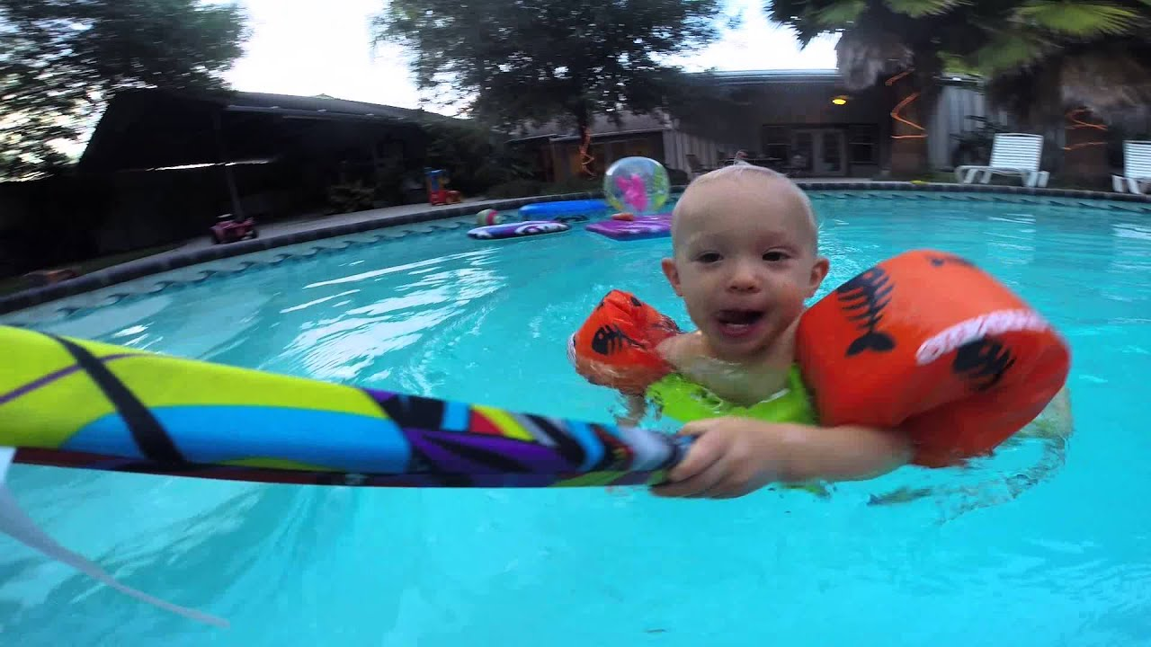 Baby In Swimming Pool Stearns Kids 39 Shark Puddle Jumper Life Jacket Youtube
