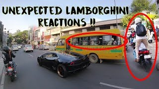 School kids react to Lamborghini | Pillion stands on a moving bike to film the car | India #164