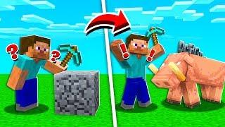 BREAK BLOCK = Spawn ANGRY HOGLIN! (Minecraft)
