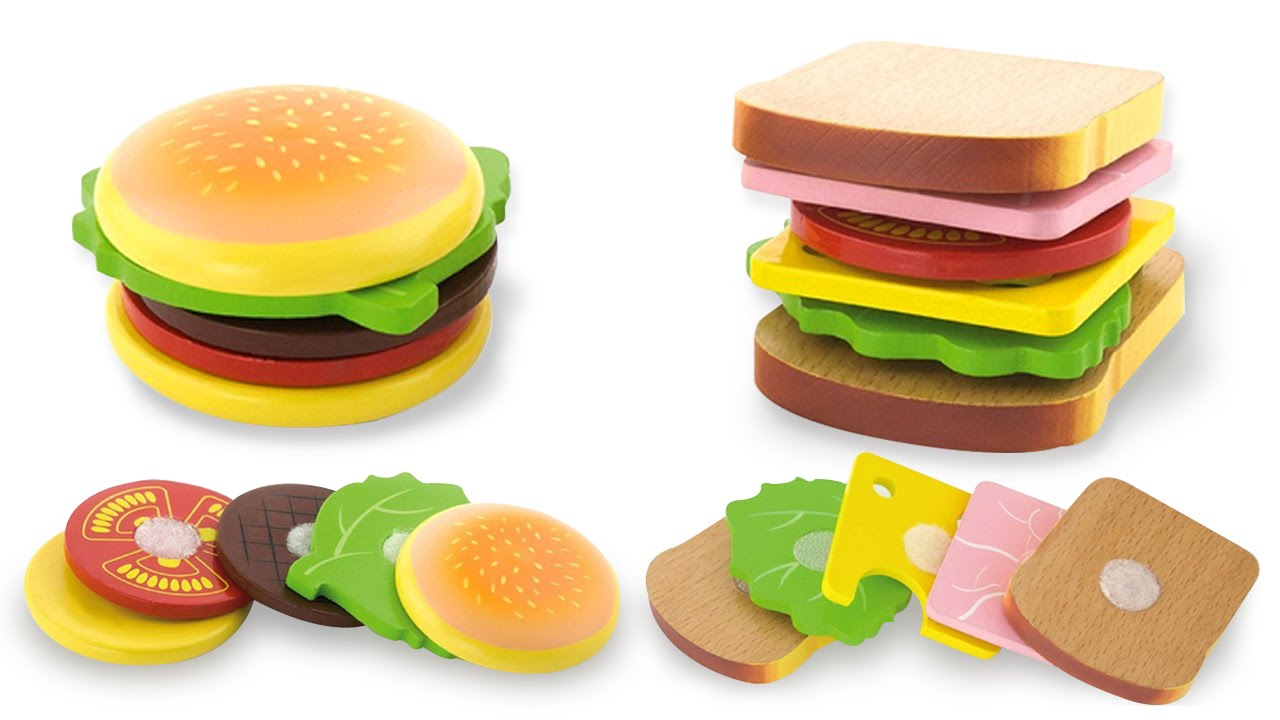 Make Burger and Sandwich with Wooden Velcro Kitchen Playset