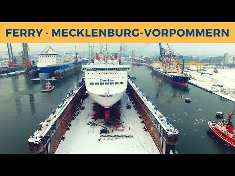 Spectacular movement of dock & ferry MECKLENBURG-VORPOMMERN in Gdańsk (Stena Line)