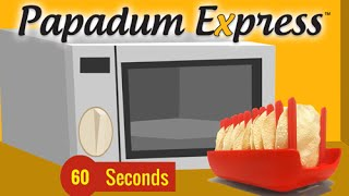 Papadum Express® : Microwave cook 10 papads in 60 seconds! Animation