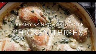 Creamy Spinach Artichoke Chicken Thighs In ONE PAN!