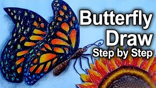 How to Draw a Butterfly:Teaching Kids to Draw Futterfly:Art Colours for Kids - Learn Colors