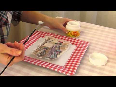 Видео мастер класс новогодний   Как приклеить мотив с рисовой бумаги