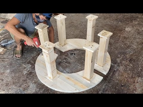 Build A Set Of Outdoor Tables And Chairs From Old Wooden Pallets - Amazing Ideas Woodworking Project