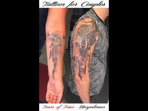 Watercolor Wolf Mandala tattoo