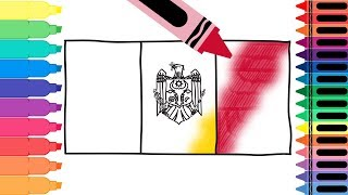 How to Draw Moldova Flag - Drawing the Moldovan Flag - Coloring Pages for Kids | Tanimated Toys