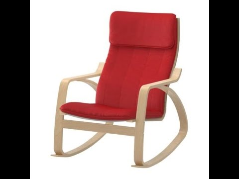 ikea poang rocking chair birch veneer with red cushion youtube. Black Bedroom Furniture Sets. Home Design Ideas