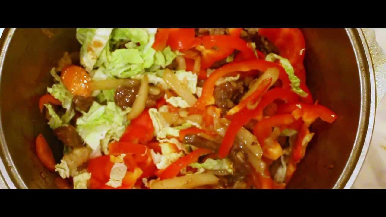 Паста с мясом и овощами - YouTube
