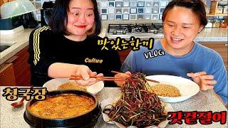 [자매의일상]맛있는한끼 일상먹방 브이로그 (청국장,갓겉절이) | Cheonggukjang, Gat Kimchi Mukbang