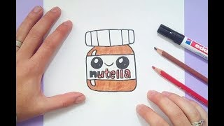 Como dibujar Nutella Kawaii paso a paso | How to draw Nutella Kawaii