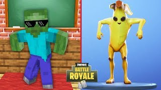 Monster School : FORTNITE BATTLE ROYALE DANCE CHALLENGE - Minecraft Animation