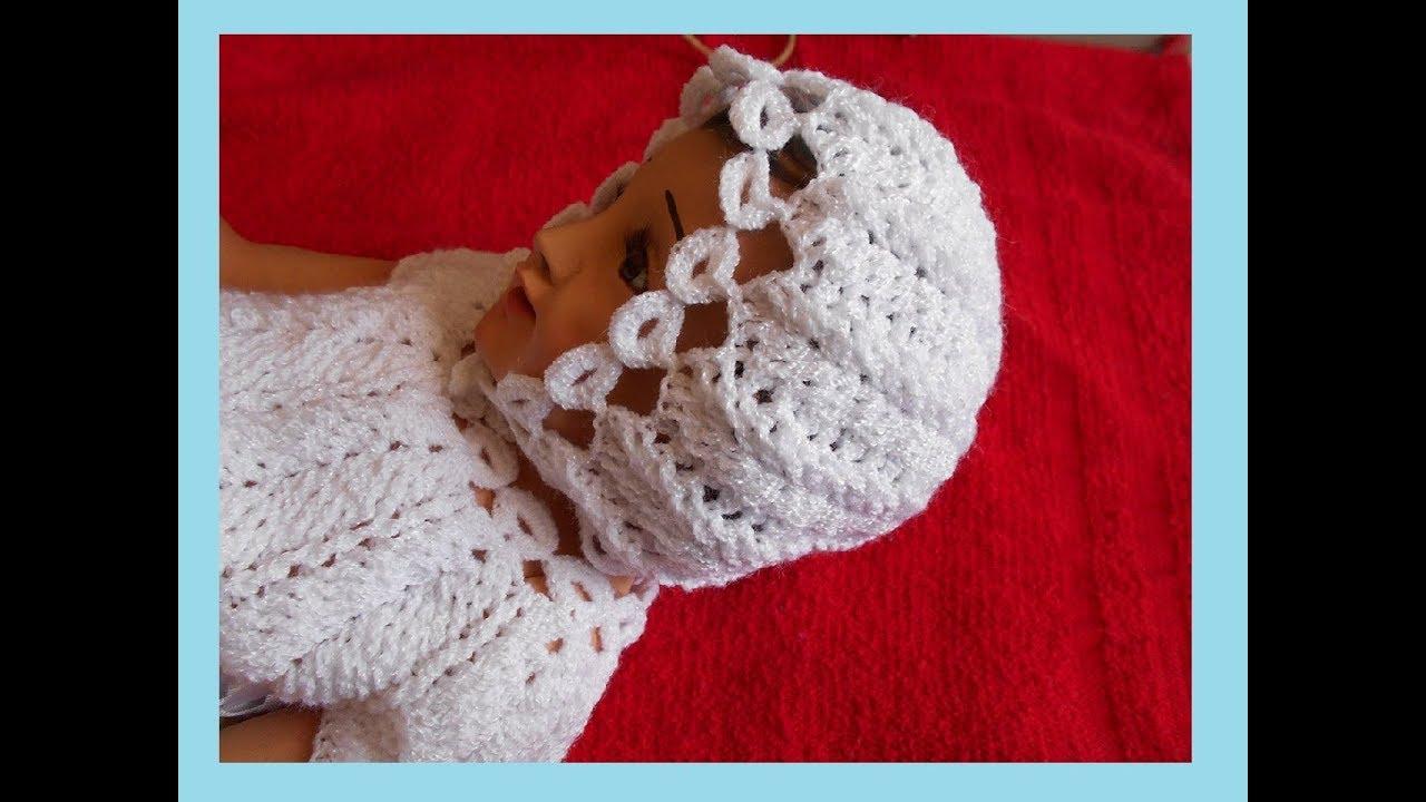 Gorro A Crochet Para Niño Jesús O Niño Dios En Punto Espiga O Trigo Y Circulos A Crochet