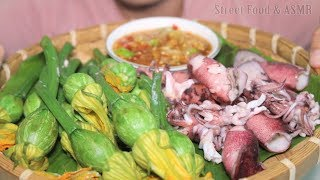 Steamed Squid with Young Pumpkin and Sour Sauce || Street Food & ASMR